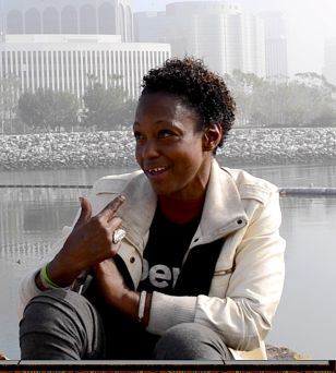 Jo-Jo sits for an interview with CityHeART along the LA River Bed in February, 2016.